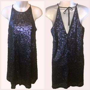 Forever 21 Matte Navy Sequin Slip Dress Large
